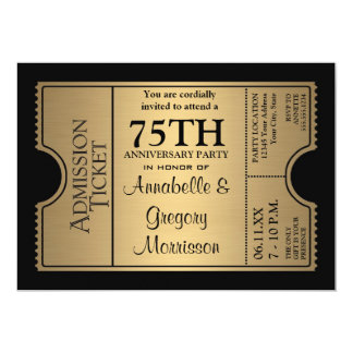 Golden Ticket Style 75th Wedding Anniversary Party 5x7 Paper Invitation Card