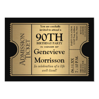 Golden Ticket Style 90th Birthday Party Invite