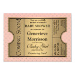 """Golden Ticket Style New Baby Shower Party Invite 5"""" X 7"""" Invitation Card"""