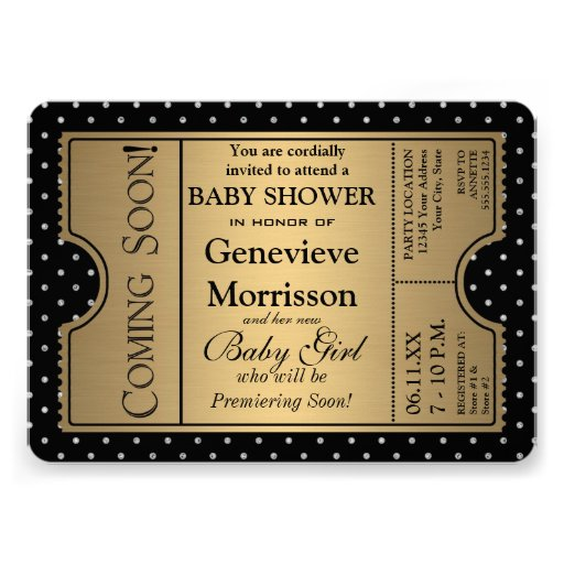 Golden Ticket Style New Baby Shower Party Invite