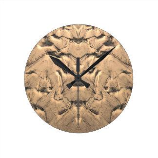 Golden Tidal Sands Round Clock