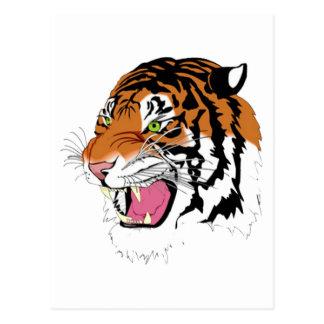 Golden Tiger Green Eyes Postcard