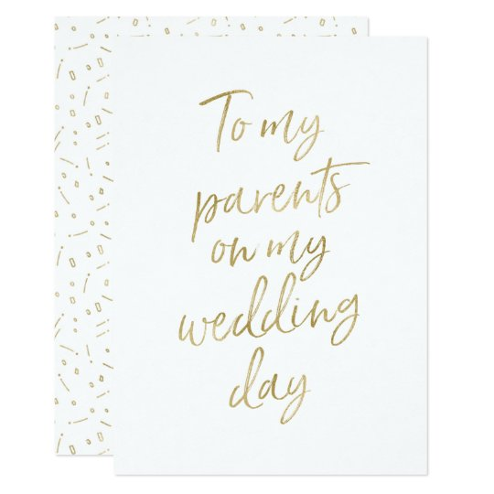Golden To My Parents On My Wedding Day Invitation Zazzle Com