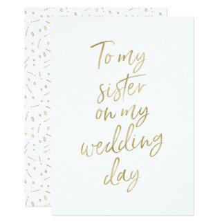 "Golden ""To my sister on my wedding day"" Card"