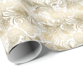 Golden Tones Ornate Paisley Pattern Wrapping Paper