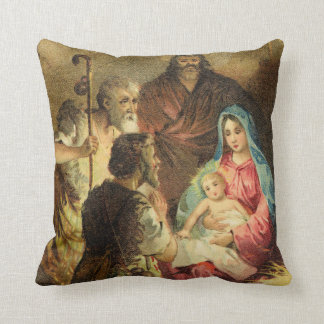 Golden Tones Vintage Nativity Scene Throw Pillow