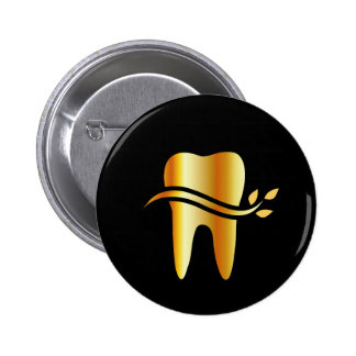 Golden Tooth with leaves 2 Inch Round Button