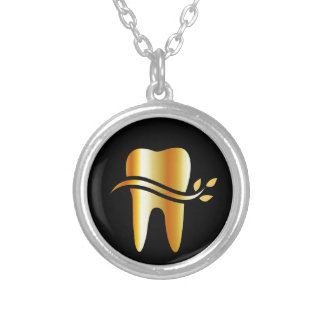 Golden Tooth with leaves Silver Plated Necklace