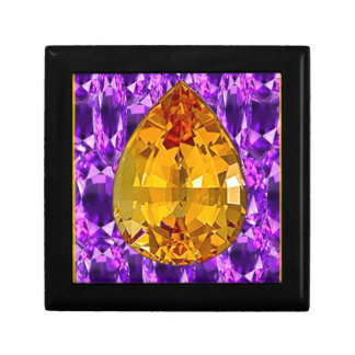 Golden Topaz Amethyst Gems Art Gift Box