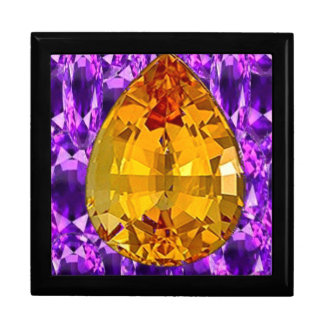 Golden Topaz Amethyst Gems Art Keepsake Box