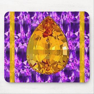Golden Topaz Amethyst Gems Art Mouse Pad