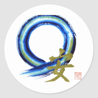 Golden Tranquility - Enso Round Stickers