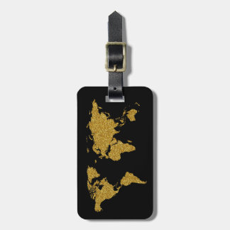 golden travel world map personalized luggage tag