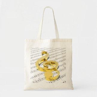 Golden Treble Clef Budget Tote Bag