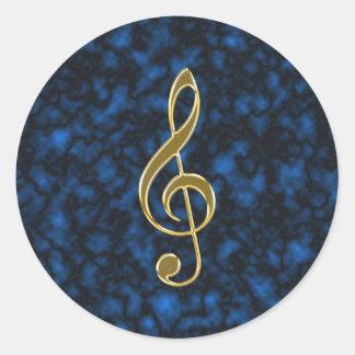 Golden treble clef classic round sticker