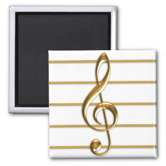 Golden Treble Clef Magnets