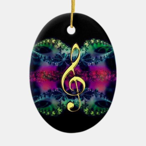 Golden Treble Clef on Colors Holiday Ornament