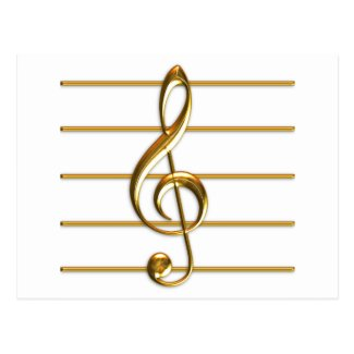 Golden Treble Clef Postcard