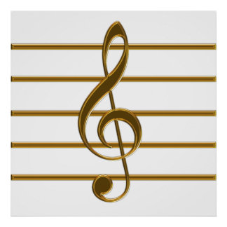 Golden Treble Clef Poster