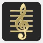 Golden treble clef square sticker