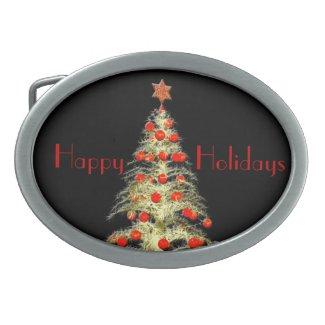 Golden Tree Happy Holidays Belt Buckle