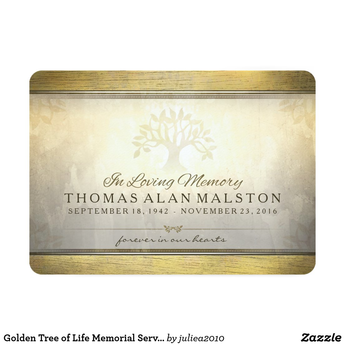 Golden Tree of Life Memorial Service Invitation
