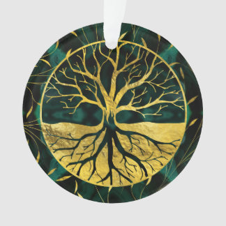Golden Tree of Life Yggdrasil on Malachite Ornament