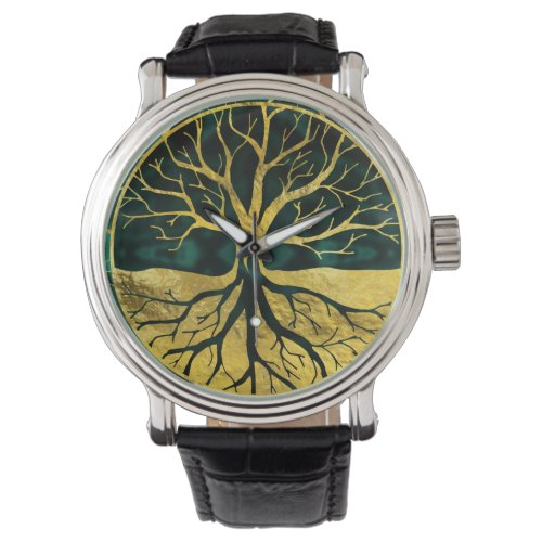 Golden Tree of Life Yggdrasil on Malachite Wrist Watch