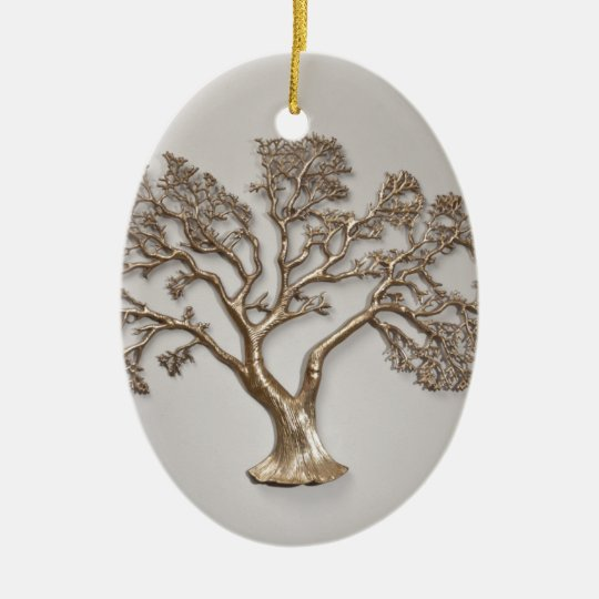 GOLDEN TREE OF PROSPERITY JAPANESE CERAMIC ORNAMENT
