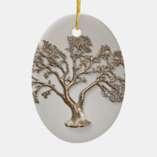 GOLDEN TREE OF PROSPERITY JAPANESE Double-Sided OVAL CERAMIC CHRISTMAS ORNAMENT