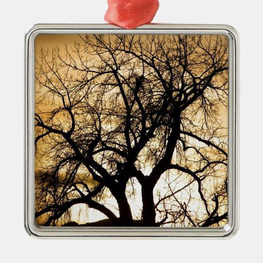 Golden Tree Sunset Silhouette Metal Ornament