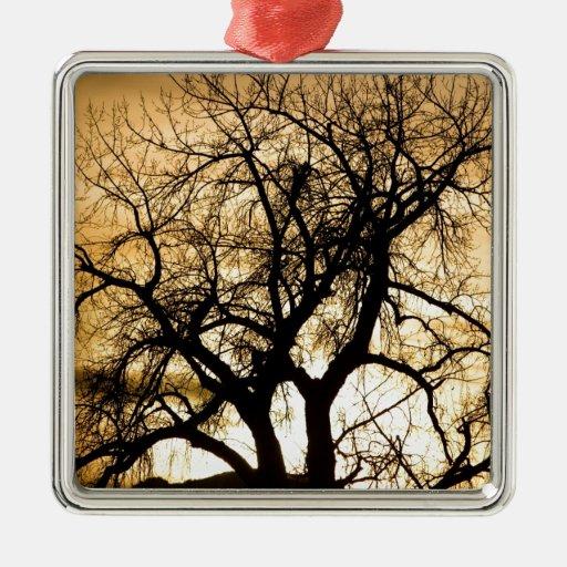 Golden Tree Sunset Silhouette Ornament