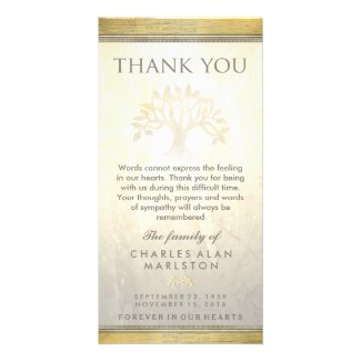 Golden Tree Sympathy Thank You Card