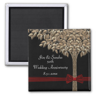 Golden Tree With Red Ribbon & Bow Date Saver Refrigerator Magnet