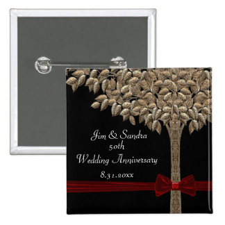Golden Tree With Red Ribbon & Bow Save Date Button