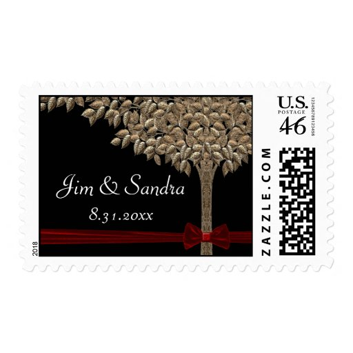 Golden Tree With Red Ribbon & Bow Save Date Postage Stamp