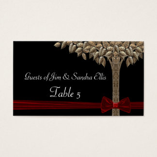 Golden Tree With Red Ribbon & Bow Table Business Card