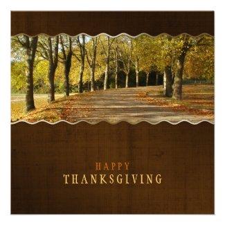 Golden Trees Path Thanksgiving invitation