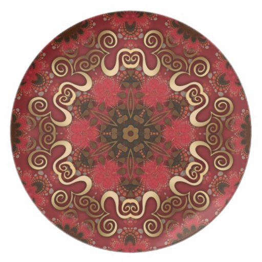Golden Tribal Geometric  Eastern Star Plate