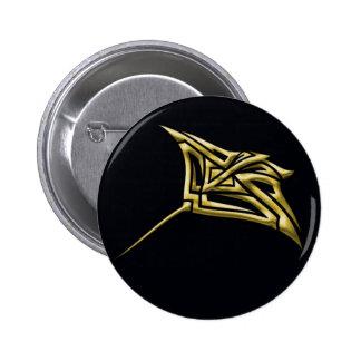 Golden Tribal Stingray Button
