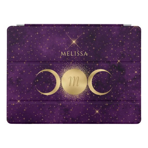 Golden Triple Moon Celestial Purple Monogram iPad Pro Cover