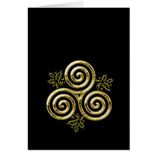 Golden Triple Spiral & Holly Leaves Greeting Cards