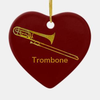 Golden Trombone Christmas Ornaments