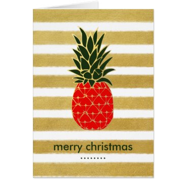 Christmas Themed Golden Tropical Christmas Pineapple Wishes Card