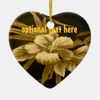 Golden Tropical Print Ceramic Ornament