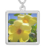 Golden Trumpet Flowers I Silver Plated Necklace