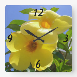 Golden Trumpet Flowers I Square Wall Clock