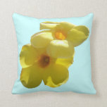 Golden Trumpet Flowers I Throw Pillow