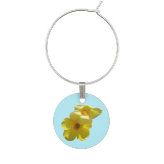 Golden Trumpet Flowers I Wine Glass Charm