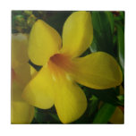Golden Trumpet Flowers II Tropical Floral Ceramic Tile
